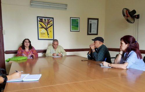 Conferencia de prensa en la sede de la Upec nacional sobre la XX Bienal Internacional de Humorismo Gráfico (Foto: Yoandry Avila Guerra)