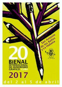 Cartel de la XX Bienal Internacional de Humorismo Gráfico 2017, obra de los caricaturistas Ares y Boligán