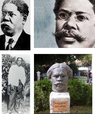 Imágenes de Juan Gualberto Gómez y del busto que le recuerda, ubicado a la entrada de la sede nacional de la Upec, en La Habana