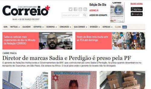 El Correio es el mayor periódico en San Salvador de Bahía, Brasil