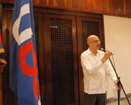 El Presidente de la Unión de Periodistas de Cuba, Antonio Moltó Martorell expresa la Proclama al X Congreso de la organización, en Santiago de Cuba, el 14 de marzo de 2017. Foto: Yoandry Ávila Guerra/ Cubaperiodistas