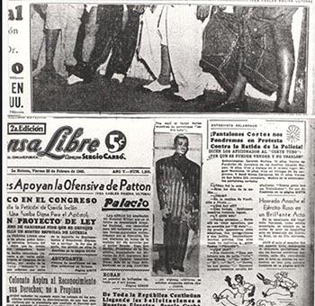 Primera plana de Prensa Libre del viernes 23 de febrero de 1945 dando la noticia de la batida policíaca contra los chucheros.